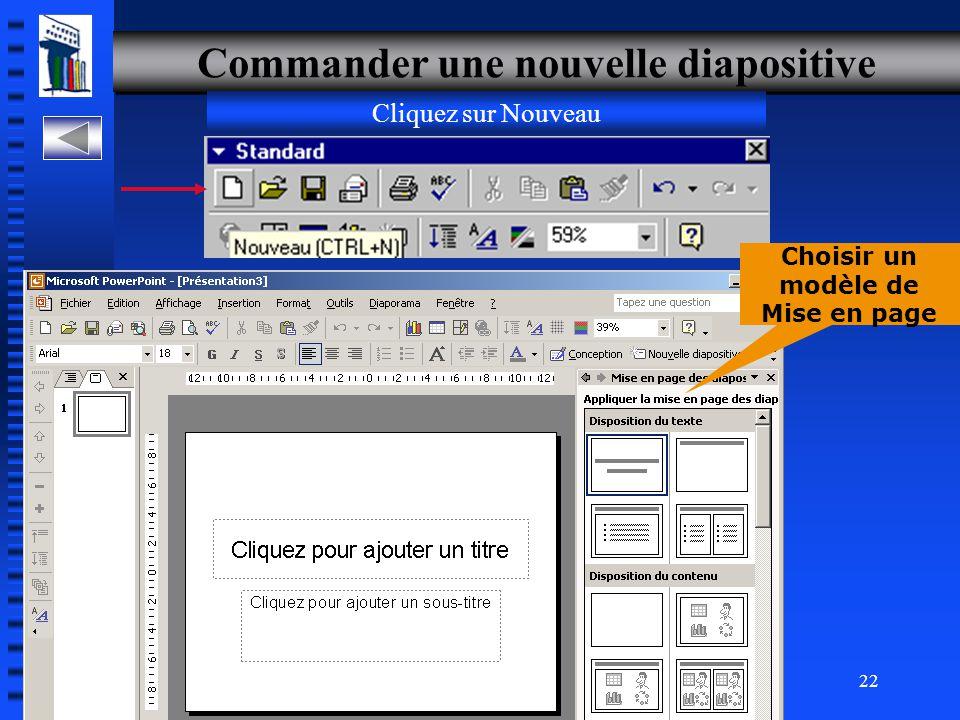 30-700-96 Introduction à l'informatique en gestion 21 Créer une diapositive de texte Commander une nouvelle diapositives Saisir du texte Modifier du texte Mettre en forme du texte Réf.