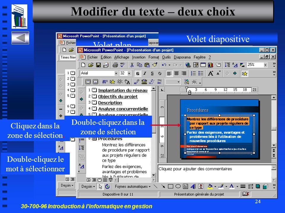 30-700-96 Introduction à l'informatique en gestion 23 Saisir du texte Créer une diapo et saisir du texte ALT+TAB 1-Cliquez dans la zone de texte du ma