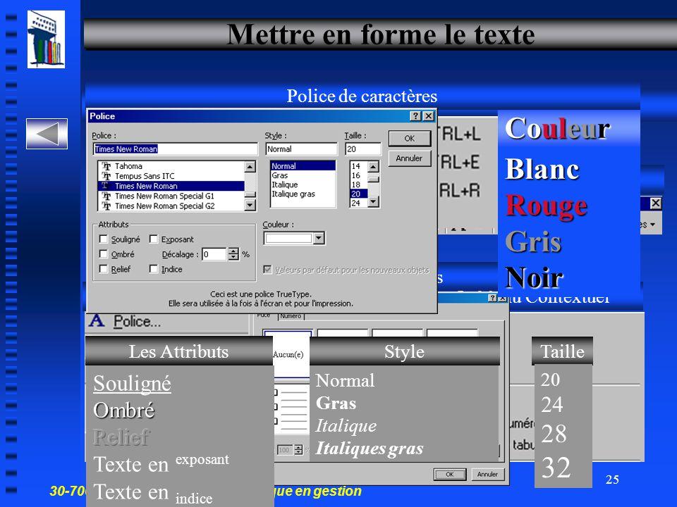 30-700-96 Introduction à l'informatique en gestion 24 Modifier du texte – deux choix Volet plan Volet diapositive Volet plan Cliquez dans la zone de s