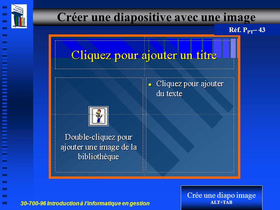 30-700-96 Introduction à l'informatique en gestion 27 Créer une diapositive avec graphique Barre de menus PowerPoint en mode par défaut Mise en jour d