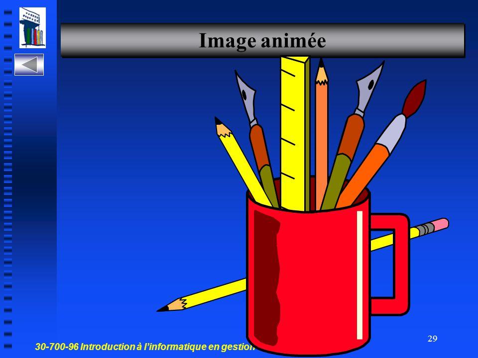 30-700-96 Introduction à l'informatique en gestion 28 Créer une diapositive avec une image Crée une diapo image ALT+TAB Réf.