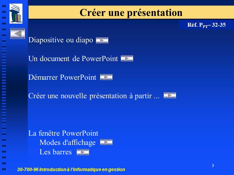 30-700-96 Introduction à l'informatique en gestion 2 La magie. dans la. présentation. La magie de la présentation