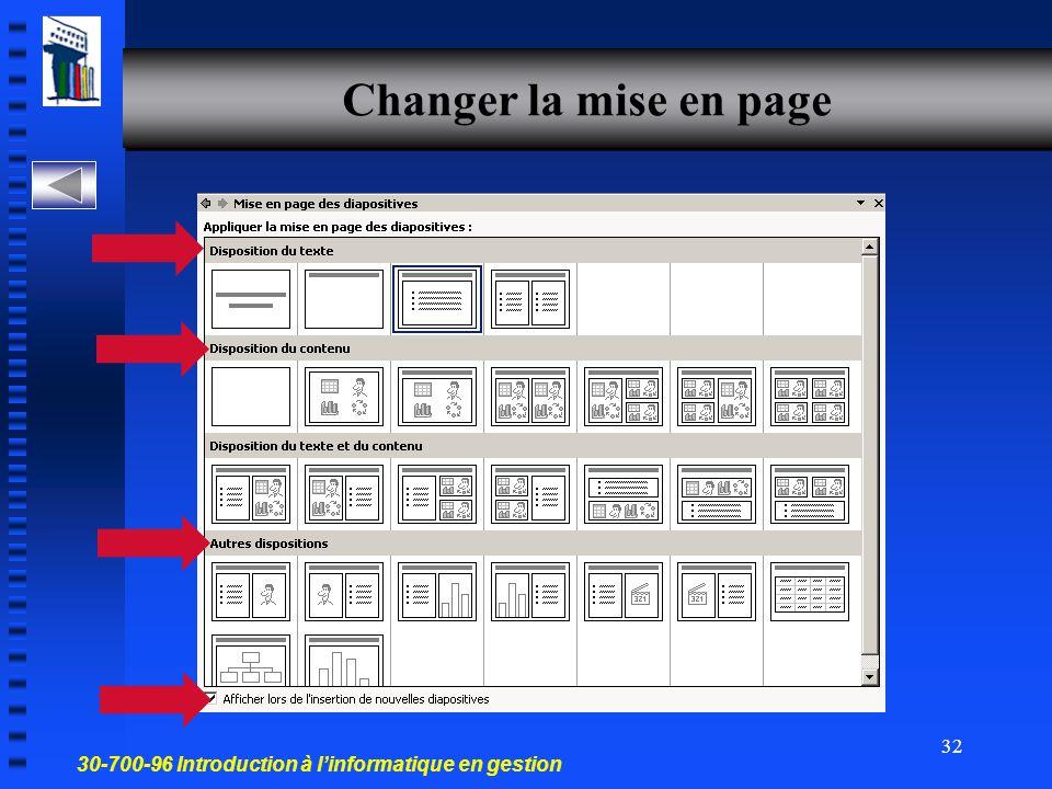 30-700-96 Introduction à l'informatique en gestion 31 Effacer une diapo en mode 1- Trieuse de diapositives 2- Diapositives 3- Plan