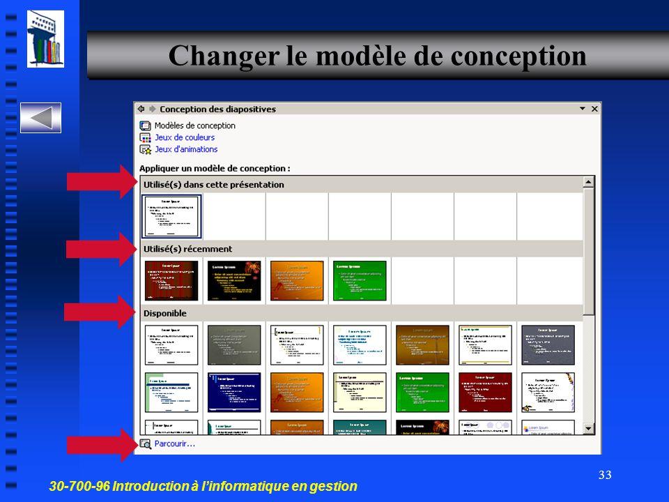 30-700-96 Introduction à l'informatique en gestion 32 Changer la mise en page