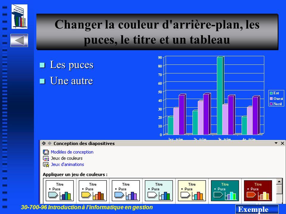 30-700-96 Introduction à l'informatique en gestion 34 Changer l arrière-plan d'une diapo Menu Format Menu Contextuel Couleur qui est attribué à la surface de l écran sur laquelle les éléments graphiques et textuels s affichent Ici le rouge Exemple