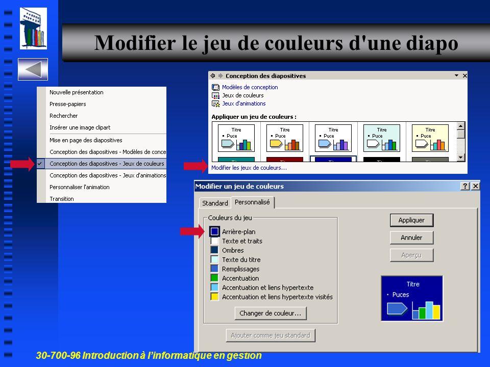 30-700-96 Introduction à l'informatique en gestion 35 Changer la couleur d'arrière-plan, les puces, le titre et un tableau n Les puces n Une autre Exe