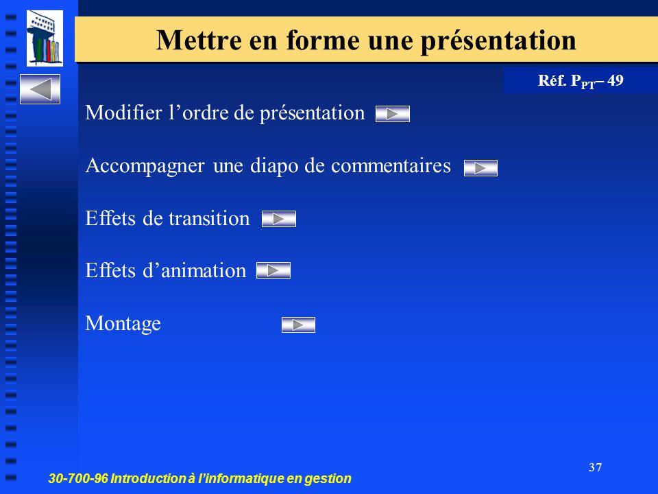 30-700-96 Introduction à l'informatique en gestion 36 Modifier le jeu de couleurs d une diapo