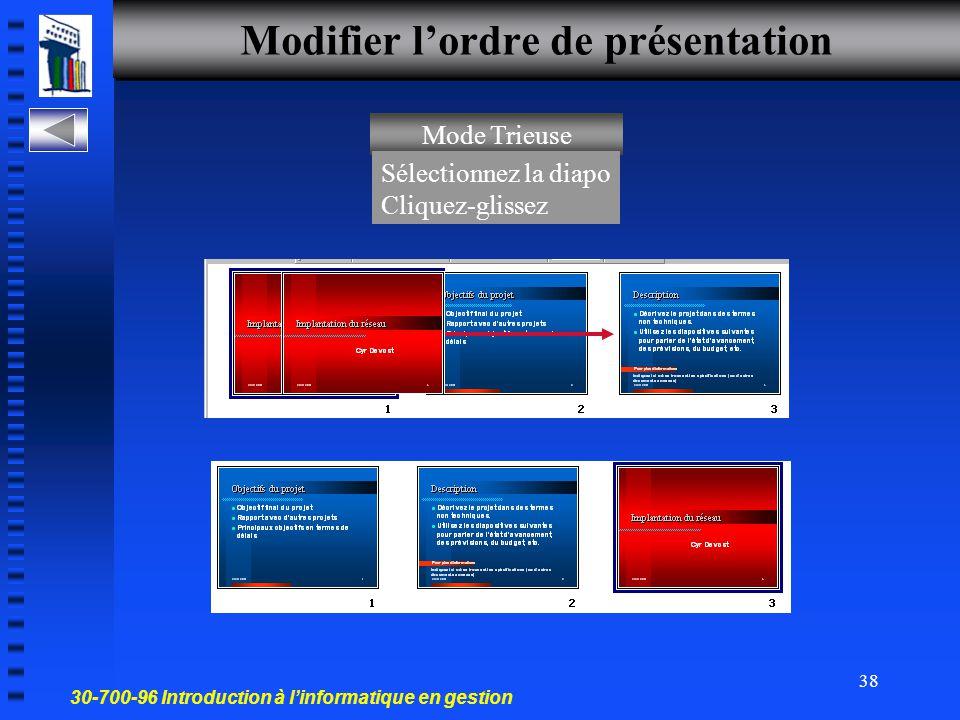 30-700-96 Introduction à l'informatique en gestion 37 Mettre en forme une présentation Modifier l'ordre de présentation Accompagner une diapo de commentaires Effets de transition Effets d'animation Montage Réf.