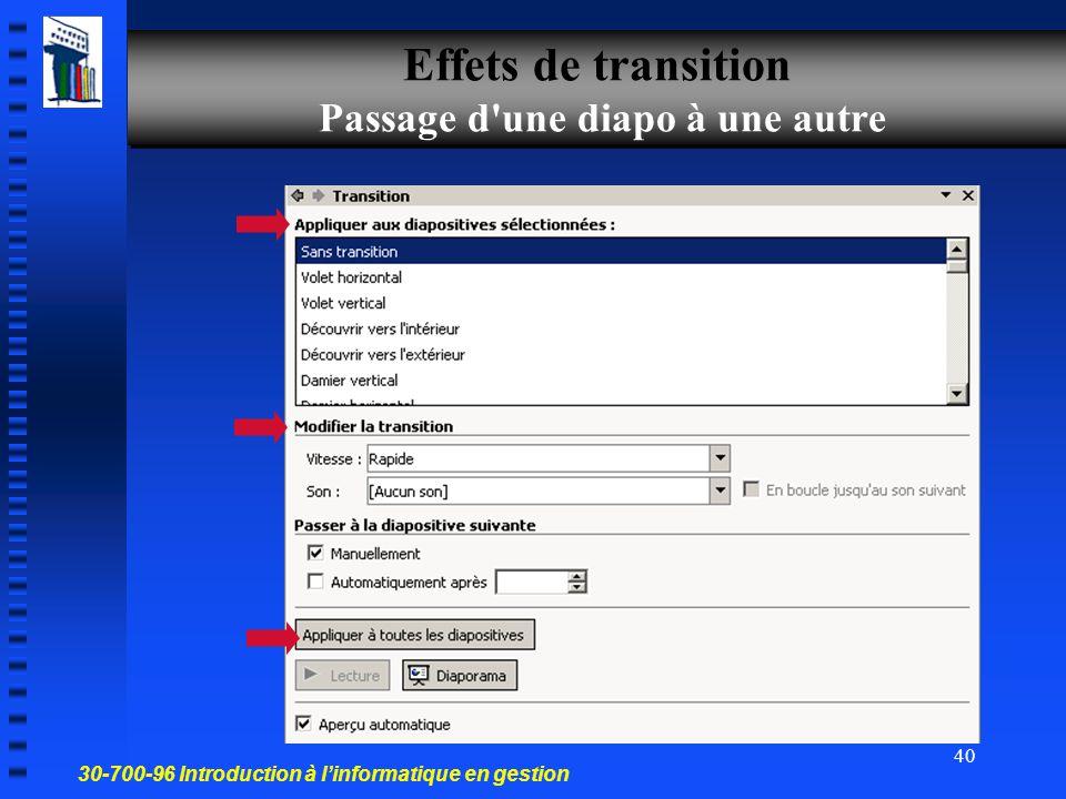 30-700-96 Introduction à l'informatique en gestion 39 Activez la diapositive à laquelle vous souhaitez attacher un commentaire. Affichage Affichage Pa
