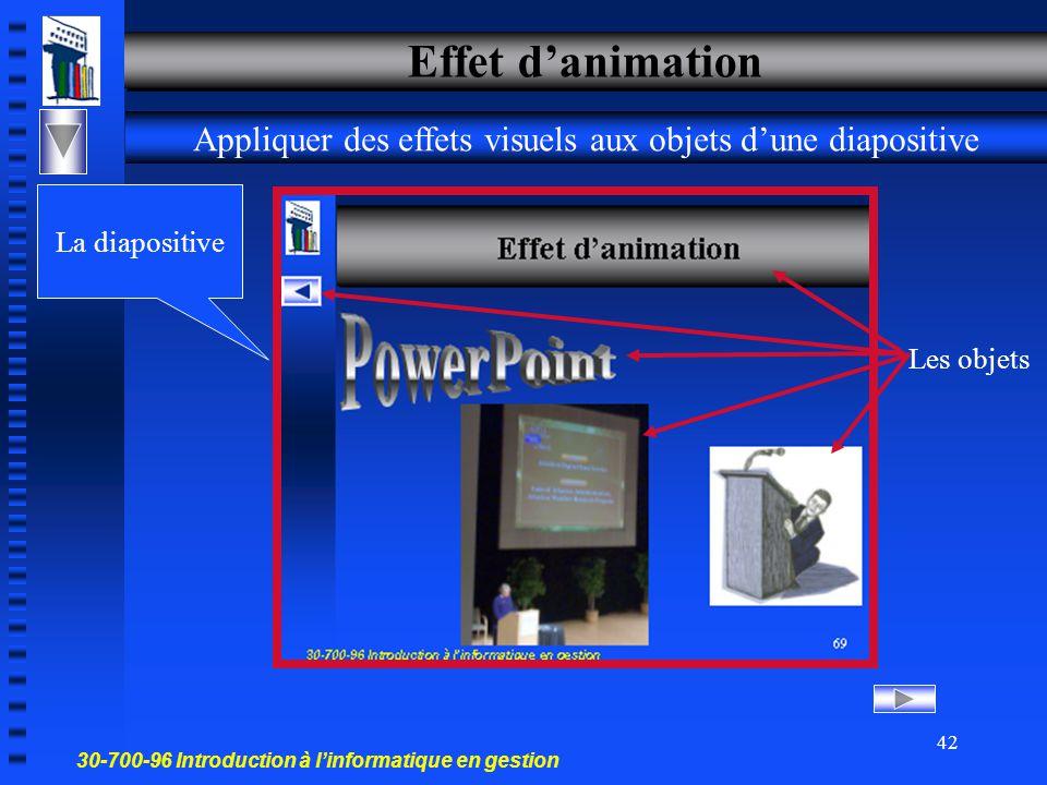 30-700-96 Introduction à l'informatique en gestion 41 Effets de transition La façon dont une diapositive apparaît à l'écran Diapo 1 Diapo 2 Effet visuel Effet de son