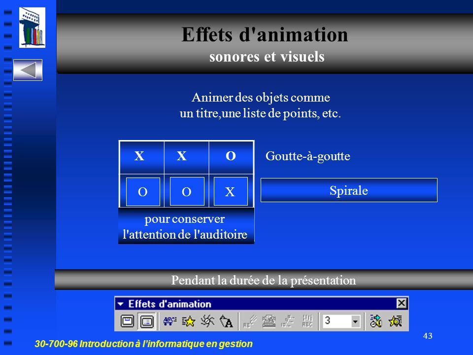 30-700-96 Introduction à l'informatique en gestion 42 Effet d'animation Appliquer des effets visuels aux objets d'une diapositive La diapositive Les objets