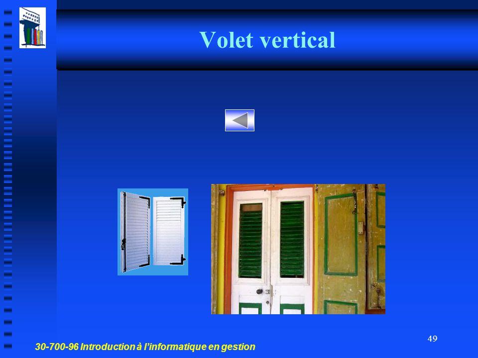 30-700-96 Introduction à l'informatique en gestion 48 Volet horizontal Des panneaux