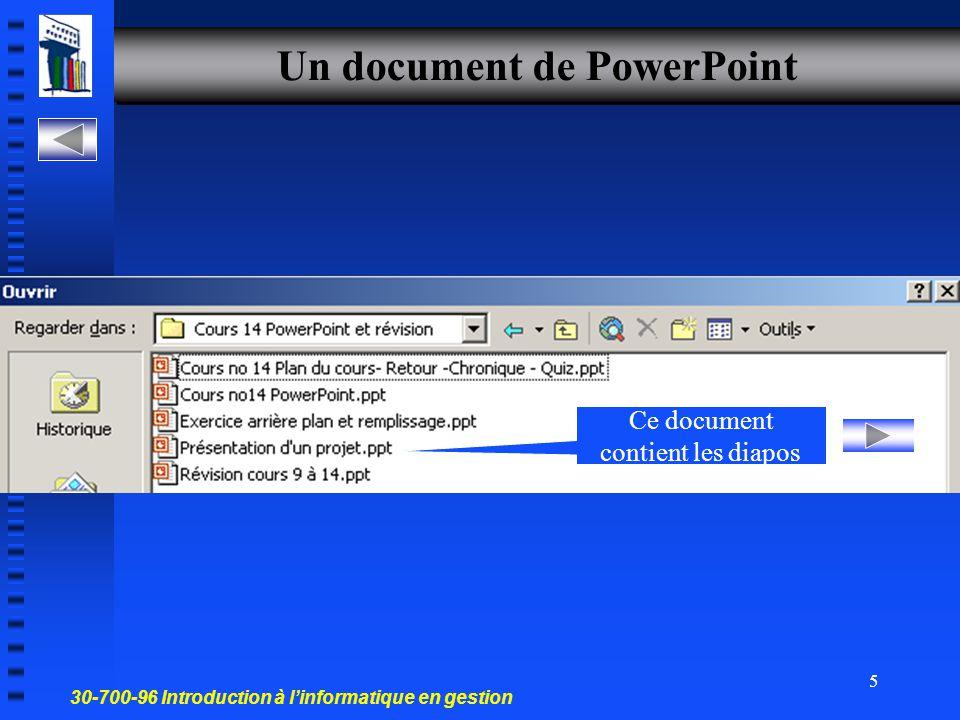 30-700-96 Introduction à l'informatique en gestion 4 Diapositive ou diapo Image photographique que l on projette sur un écran