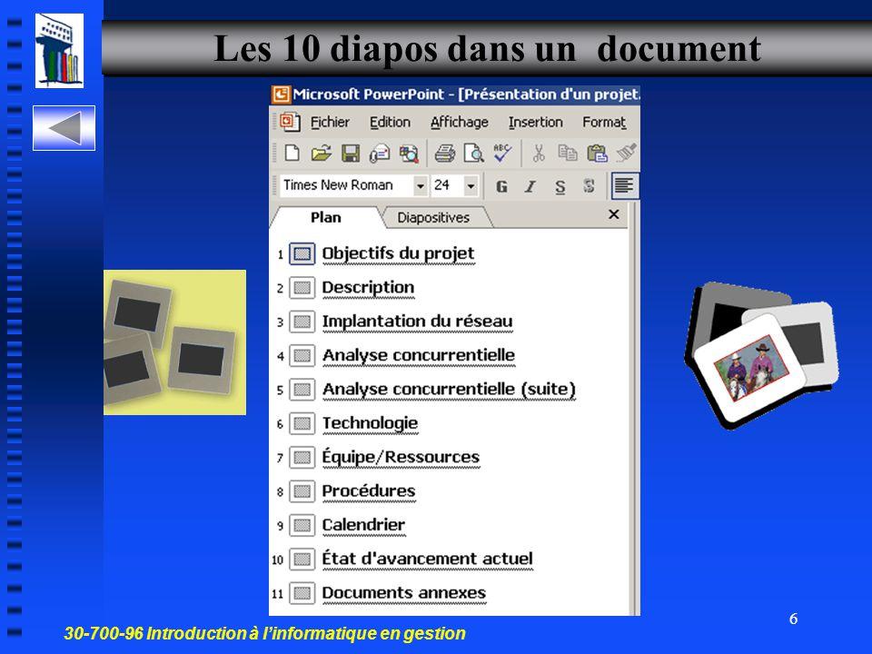 30-700-96 Introduction à l'informatique en gestion 5 Un document de PowerPoint Ce document contient les diapos