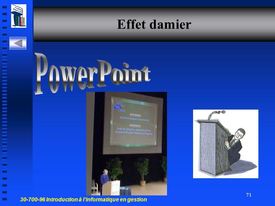 30-700-96 Introduction à l'informatique en gestion 70 Effets d'animation