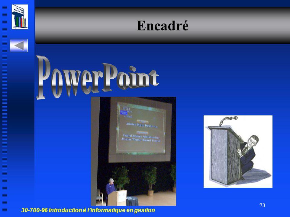 30-700-96 Introduction à l'informatique en gestion 72 Développer