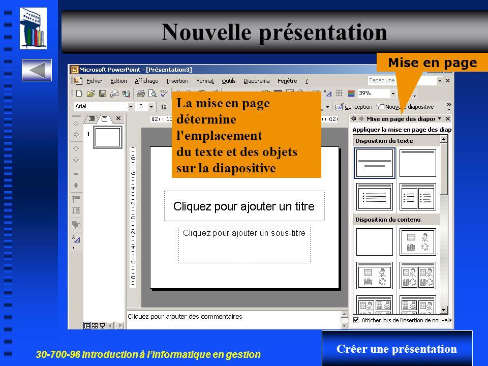 30-700-96 Introduction à l'informatique en gestion 8 Créer une nouvelle présentation à partir Volet office 1- NouvelleNouvelle 2- ModèleModèle 3- AssistantAssistant