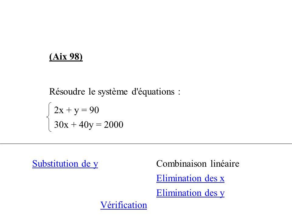 (Aix 98) Résoudre le système d'équations : 2x + y = 90 30x + 40y = 2000 Substitution de yCombinaison linéaire Elimination des x Elimination des y Véri