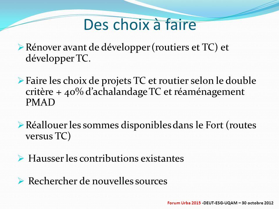 Des choix à faire  Rénover avant de développer (routiers et TC) et développer TC.  Faire les choix de projets TC et routier selon le double critère