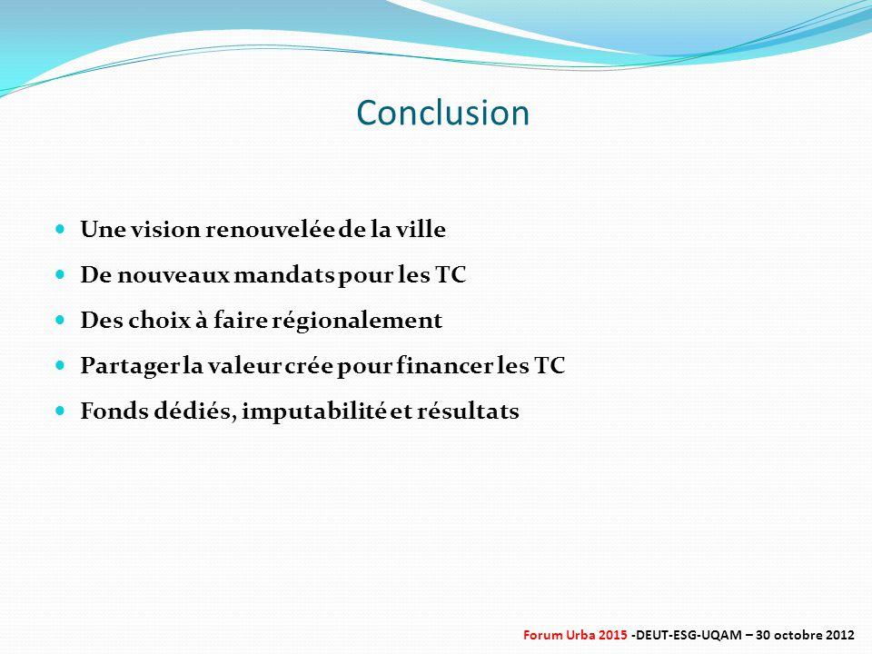 Conclusion Une vision renouvelée de la ville De nouveaux mandats pour les TC Des choix à faire régionalement Partager la valeur crée pour financer les TC Fonds dédiés, imputabilité et résultats Forum Urba 2015 -DEUT-ESG-UQAM – 30 octobre 2012