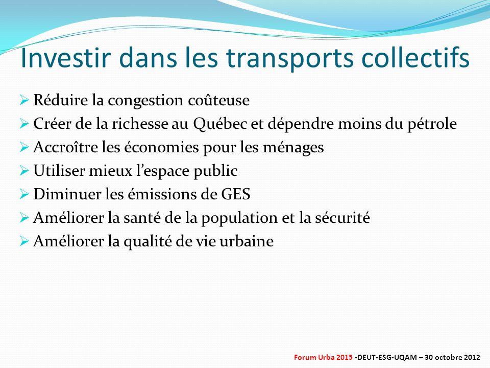 Investir dans les transports collectifs  Réduire la congestion coûteuse  Créer de la richesse au Québec et dépendre moins du pétrole  Accroître les