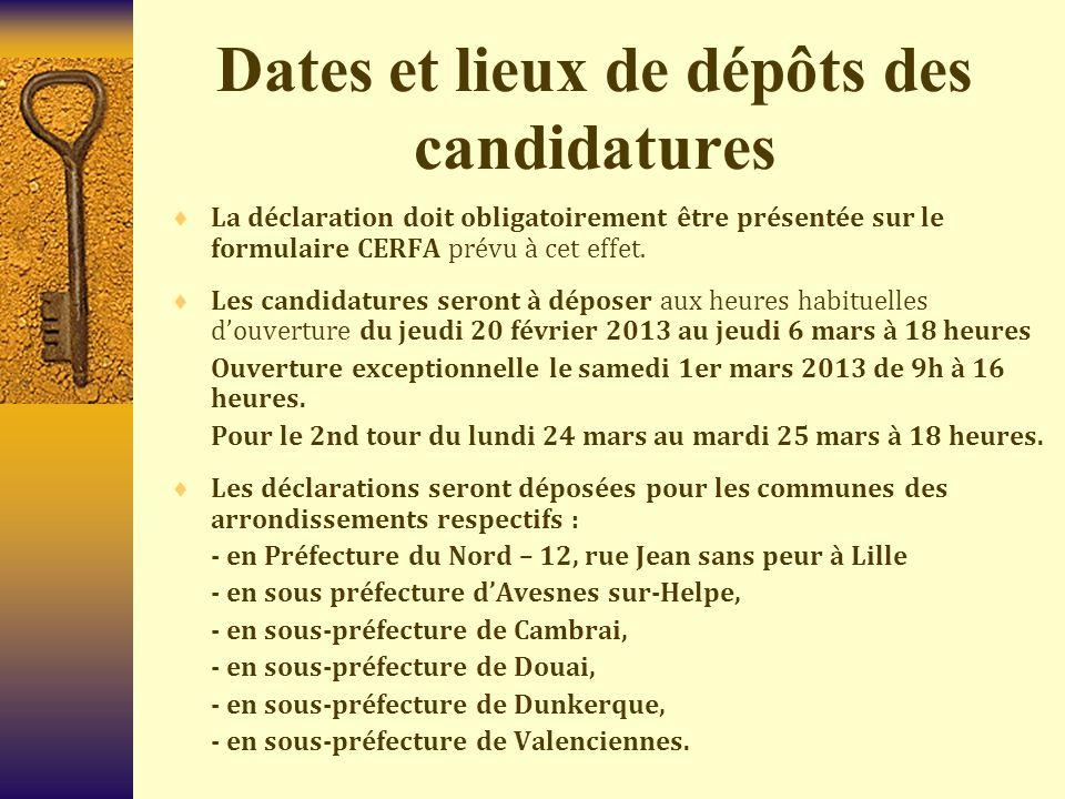 Dates et lieux de dépôts des candidatures  La déclaration doit obligatoirement être présentée sur le formulaire CERFA prévu à cet effet.  Les candid