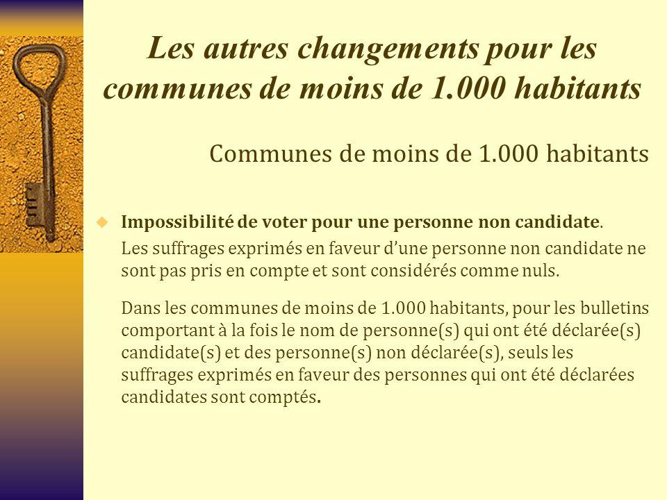 Les autres changements pour les communes de moins de 1.000 habitants Communes de moins de 1.000 habitants  Impossibilité de voter pour une personne n