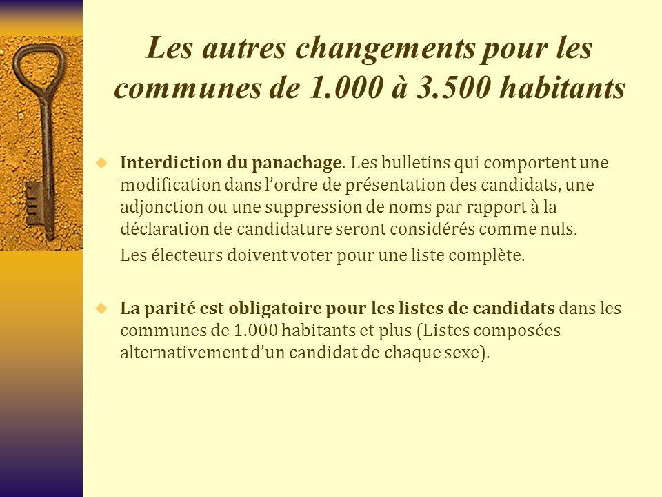 Les autres changements pour les communes de 1.000 à 3.500 habitants  Interdiction du panachage. Les bulletins qui comportent une modification dans l'