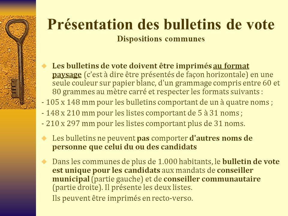Présentation des bulletins de vote Dispositions communes  Les bulletins de vote doivent être imprimés au format paysage (c'est à dire être présentés