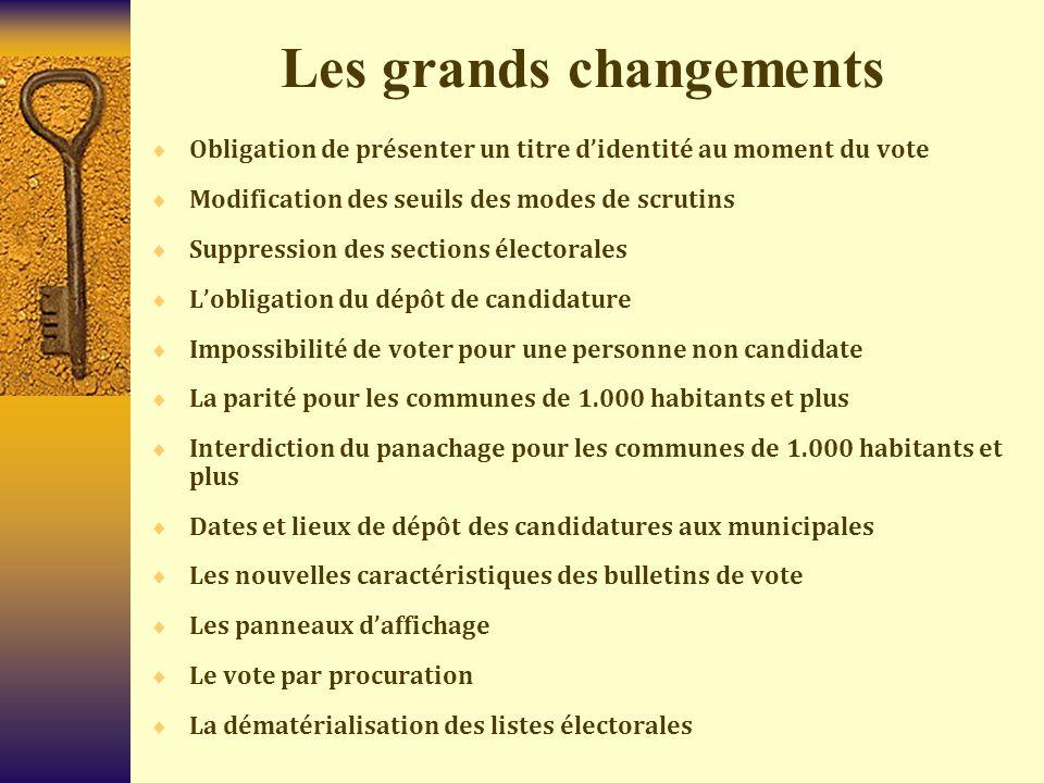 Les grands changements  Obligation de présenter un titre d'identité au moment du vote  Modification des seuils des modes de scrutins  Suppression d