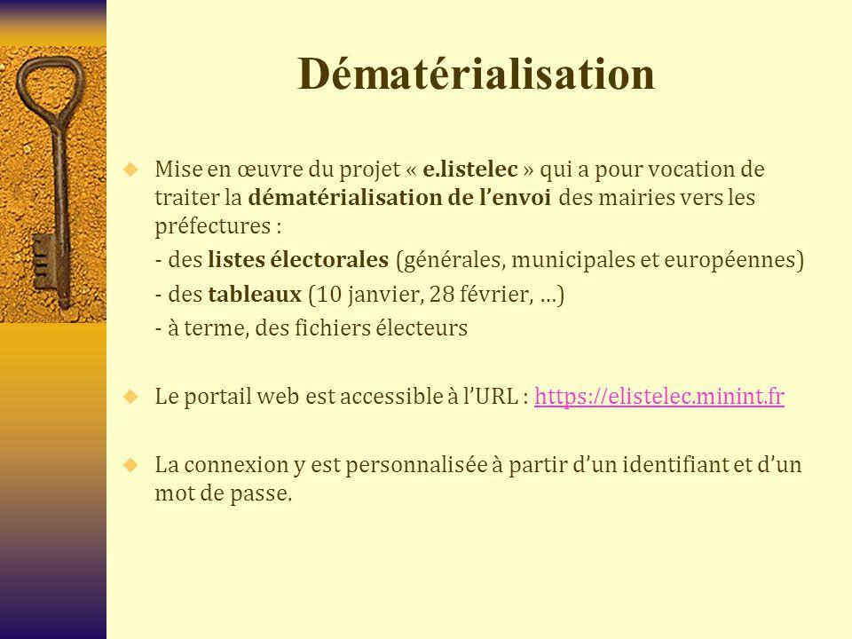 Dématérialisation  Mise en œuvre du projet « e.listelec » qui a pour vocation de traiter la dématérialisation de l'envoi des mairies vers les préfect
