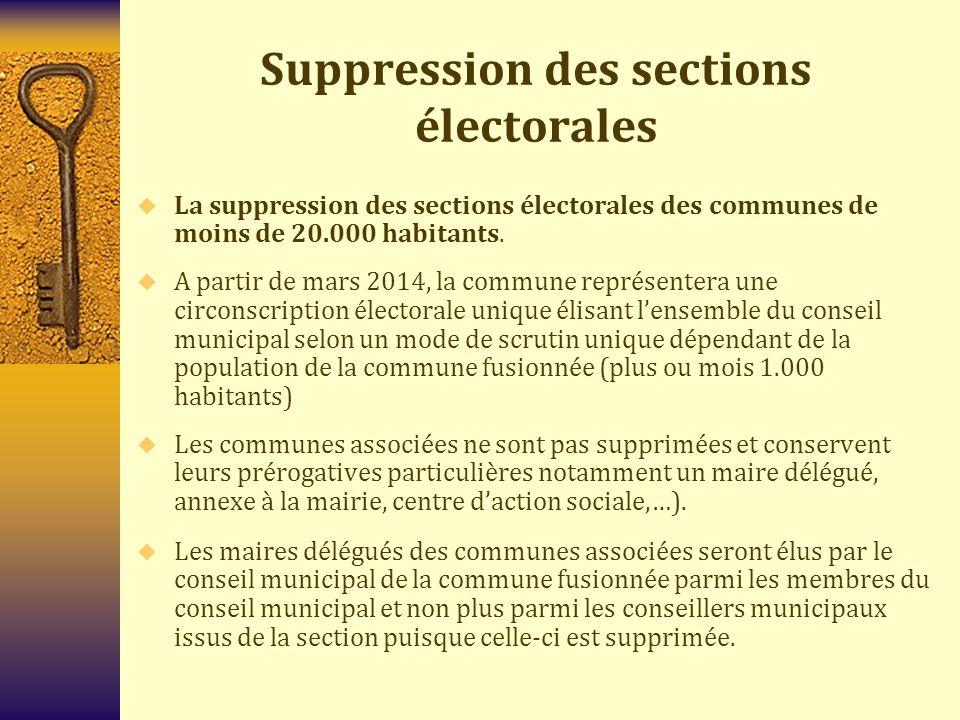 Suppression des sections électorales  La suppression des sections électorales des communes de moins de 20.000 habitants.  A partir de mars 2014, la