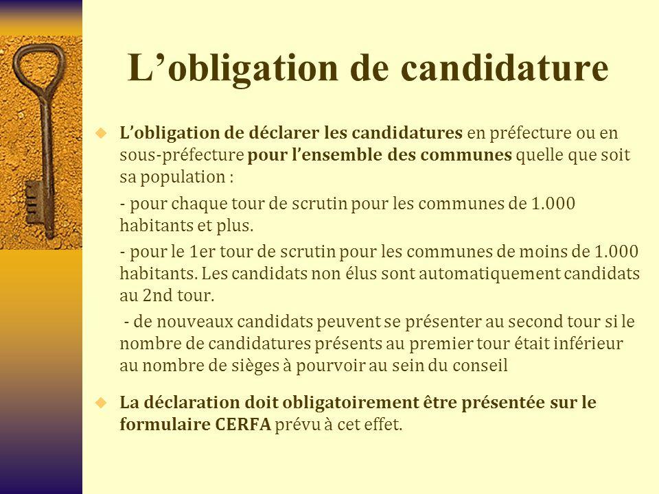 L'obligation de candidature  L'obligation de déclarer les candidatures en préfecture ou en sous-préfecture pour l'ensemble des communes quelle que so