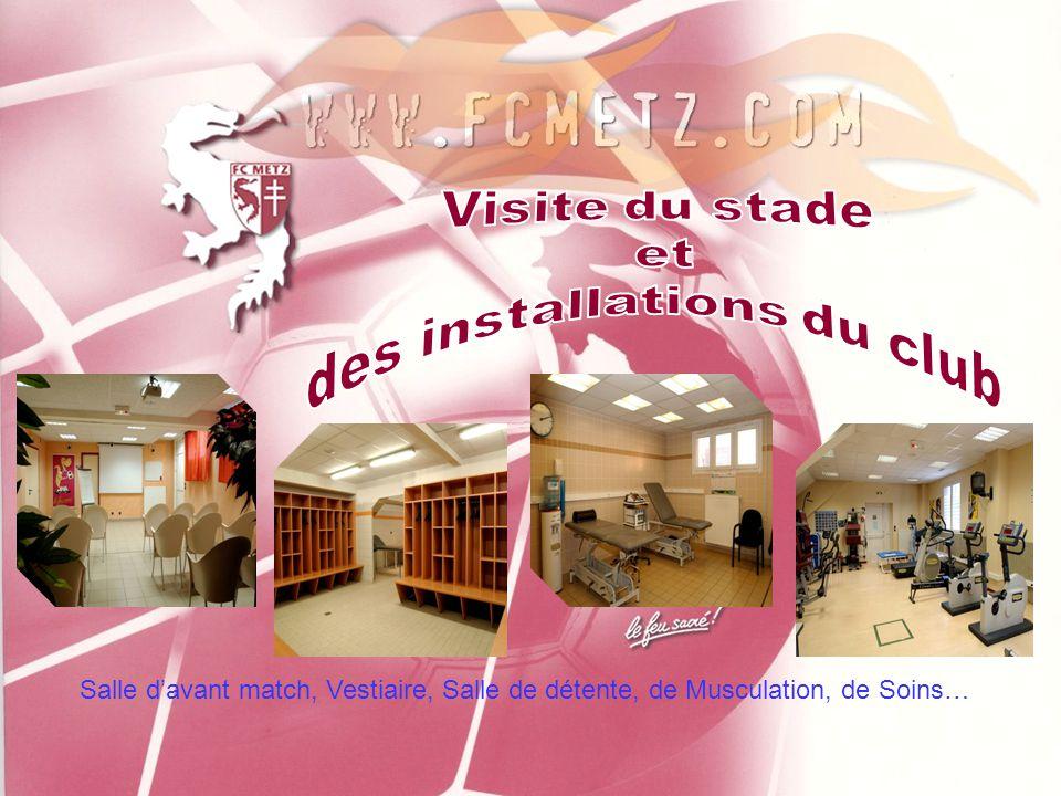 Salle d'avant match, Vestiaire, Salle de détente, de Musculation, de Soins…