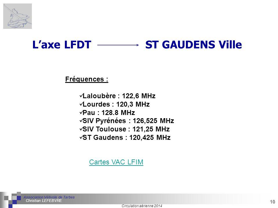 10 Séminaire « Définition de Produits » : méthodologie de définition d'une pièce GREC INITIALES Circulation aérienne 2014 Association Vélivole de Tarbes Christian LEFEBVRE 10 Fréquences : Laloubère : 122,6 MHz Lourdes : 120,3 MHz Pau : 128.8 MHz SIV Pyrénées : 126,525 MHz SIV Toulouse : 121,25 MHz ST Gaudens : 120,425 MHz L'axe LFDT ST GAUDENS Ville Cartes VAC LFIM