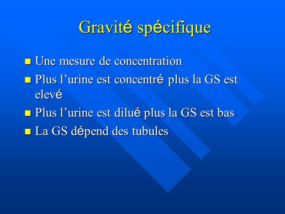 Gravit é sp é cifique Gravit é sp é cifique Une mesure de concentration Une mesure de concentration Plus l'urine est concentr é plus la GS est elev é Plus l'urine est concentr é plus la GS est elev é Plus l'urine est dilu é plus la GS est bas Plus l'urine est dilu é plus la GS est bas La GS d é pend des tubules La GS d é pend des tubules
