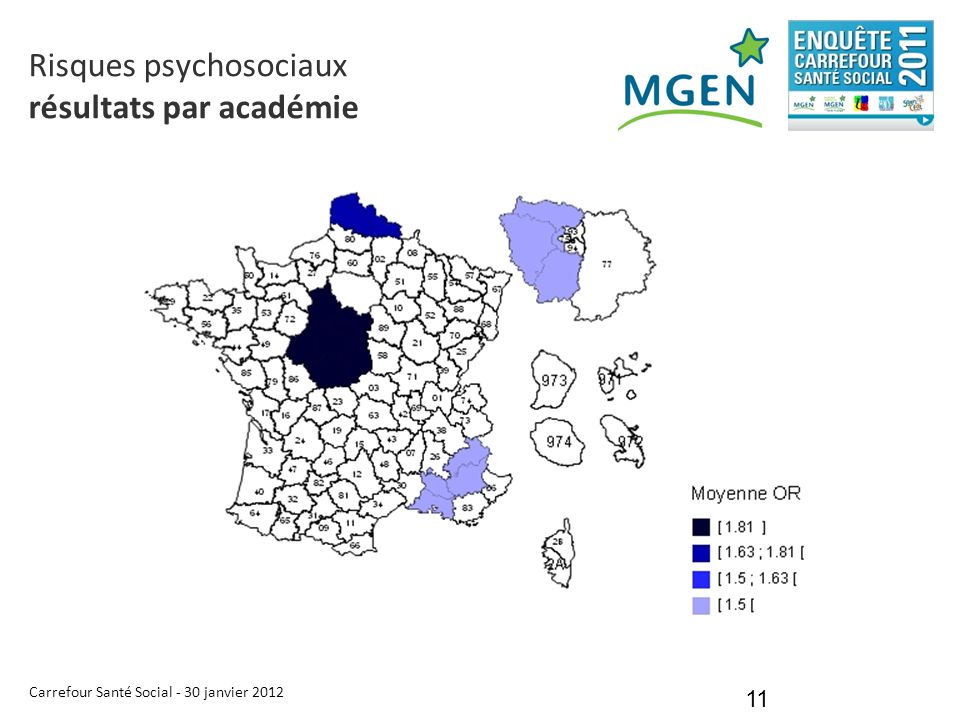 Carrefour Santé Social - 30 janvier 2012 11 Risques psychosociaux résultats par académie
