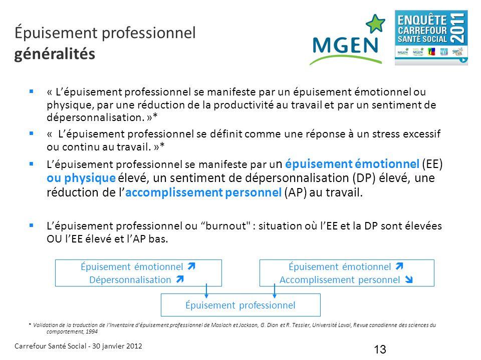Carrefour Santé Social - 30 janvier 2012 13  « L'épuisement professionnel se manifeste par un épuisement émotionnel ou physique, par une réduction de