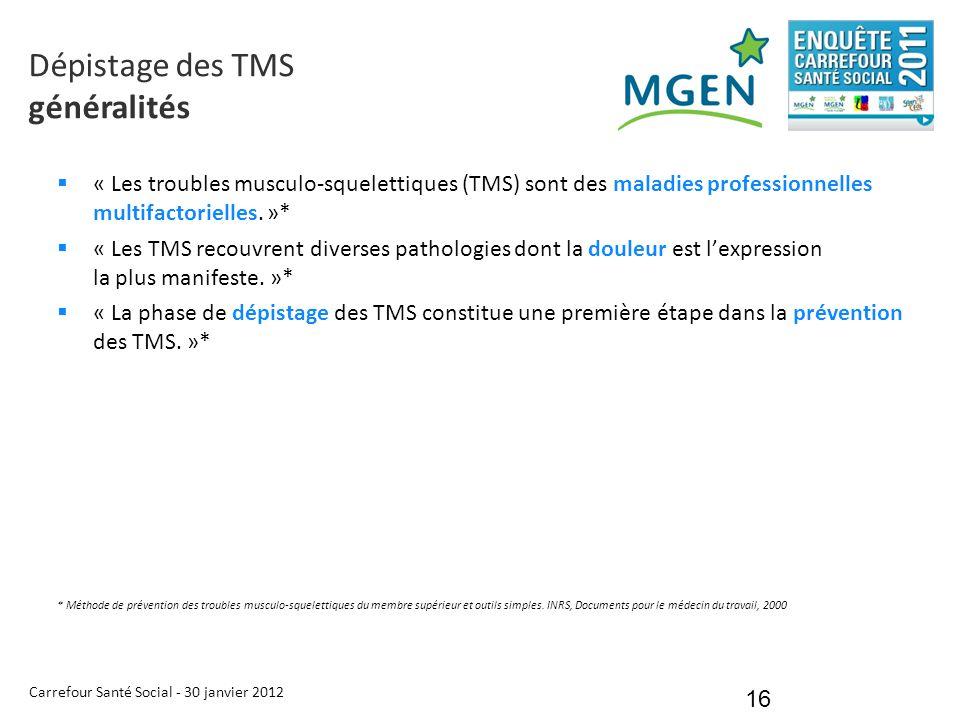 Carrefour Santé Social - 30 janvier 2012 16  « Les troubles musculo-squelettiques (TMS) sont des maladies professionnelles multifactorielles. »*  «