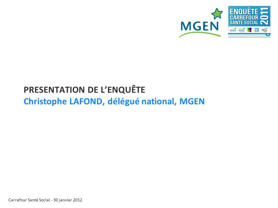 Carrefour Santé Social - 30 janvier 2012 PRESENTATION DE L'ENQUÊTE Christophe LAFOND, délégué national, MGEN