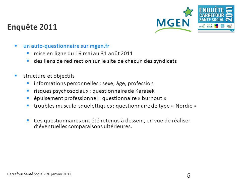 Carrefour Santé Social - 30 janvier 2012 5 Enquête 2011  un auto-questionnaire sur mgen.fr  mise en ligne du 16 mai au 31 août 2011  des liens de r