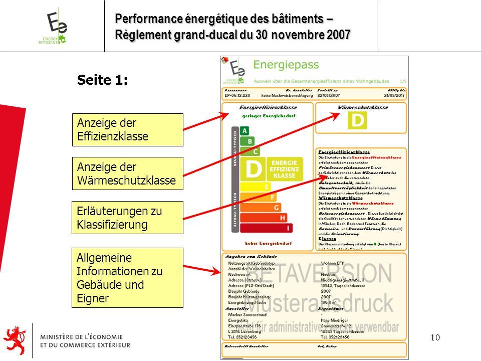 10 Seite 1: Anzeige der Effizienzklasse Anzeige der Wärmeschutzklasse Erläuterungen zu Klassifizierung Allgemeine Informationen zu Gebäude und Eigner Performance énergétique des bâtiments – Règlement grand-ducal du 30 novembre 2007