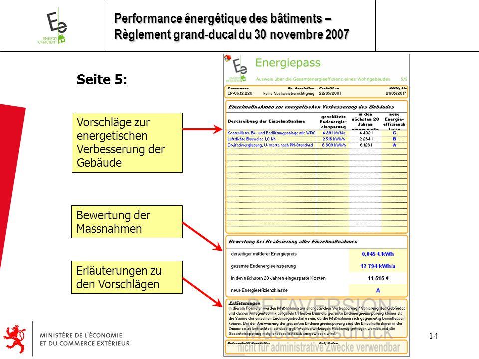 14 Seite 5: Vorschläge zur energetischen Verbesserung der Gebäude Bewertung der Massnahmen Erläuterungen zu den Vorschlägen Performance énergétique des bâtiments – Règlement grand-ducal du 30 novembre 2007