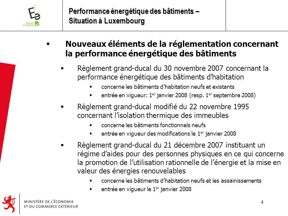 4  Nouveaux éléments de la réglementation concernant la performance énergétique des bâtiments  Règlement grand-ducal du 30 novembre 2007 concernant la performance énergétique des bâtiments d'habitation  concerne les bâtiments d'habitation neufs et existants  entrée en vigueur: 1 er janvier 2008 (resp.