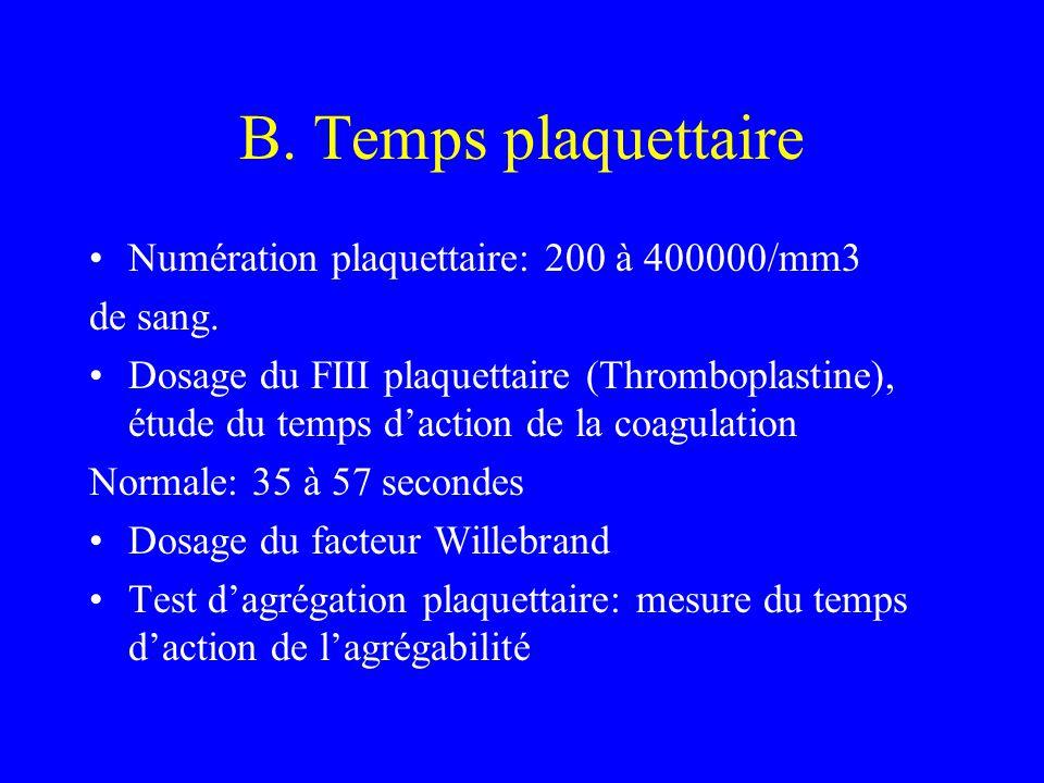 B. Temps plaquettaire Numération plaquettaire: 200 à 400000/mm3 de sang. Dosage du FIII plaquettaire (Thromboplastine), étude du temps d'action de la
