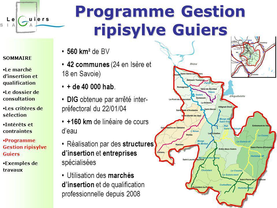 Programme Gestion ripisylve Guiers SOMMAIRE  Le marché d'insertion et qualification  Le dossier de consultation  Les critères de sélection  Intérê