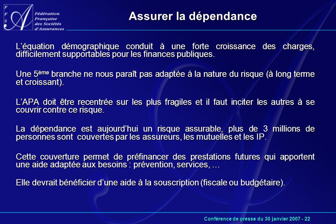 Conférence de presse du 30 janvier 2007 - 22 Assurer la dépendance L'équation démographique conduit à une forte croissance des charges, difficilement supportables pour les finances publiques.