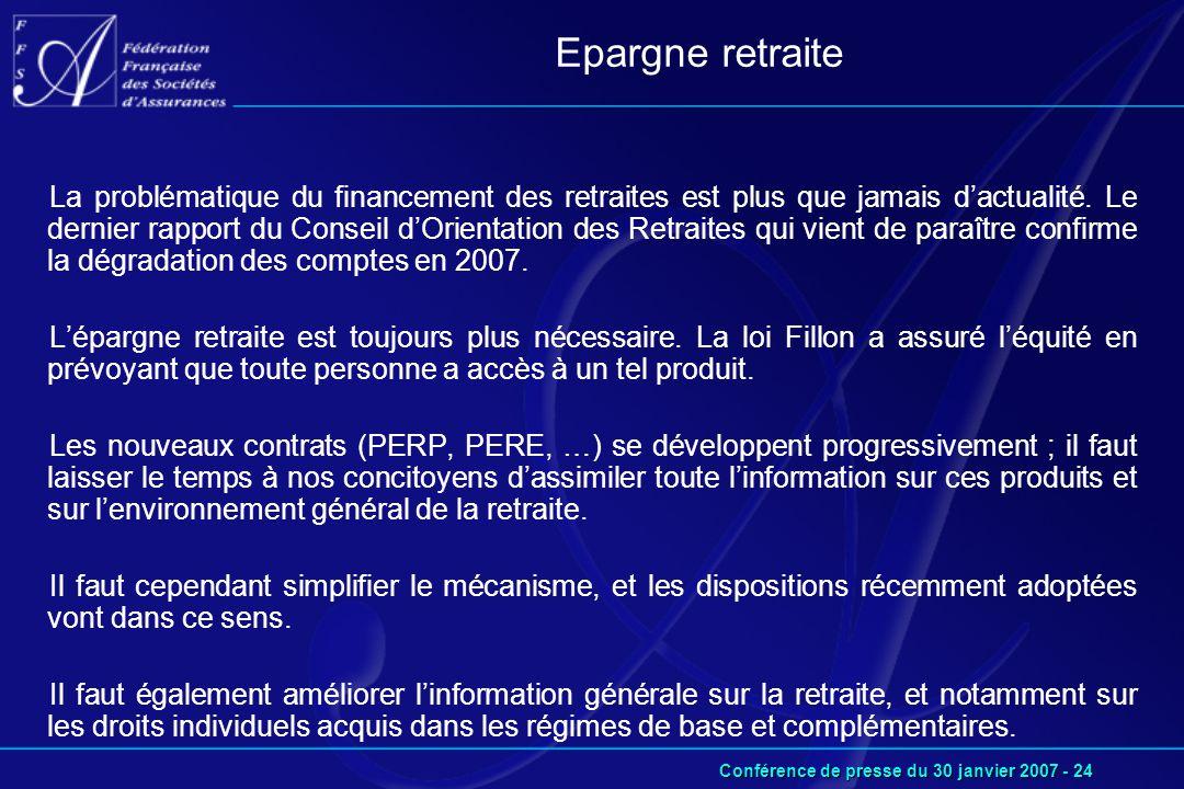 Conférence de presse du 30 janvier 2007 - 24 La problématique du financement des retraites est plus que jamais d'actualité.