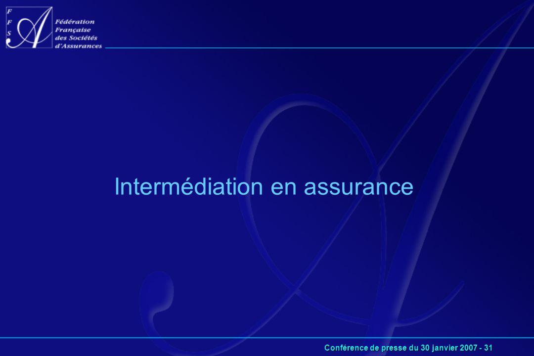 Conférence de presse du 30 janvier 2007 - 31 Intermédiation en assurance
