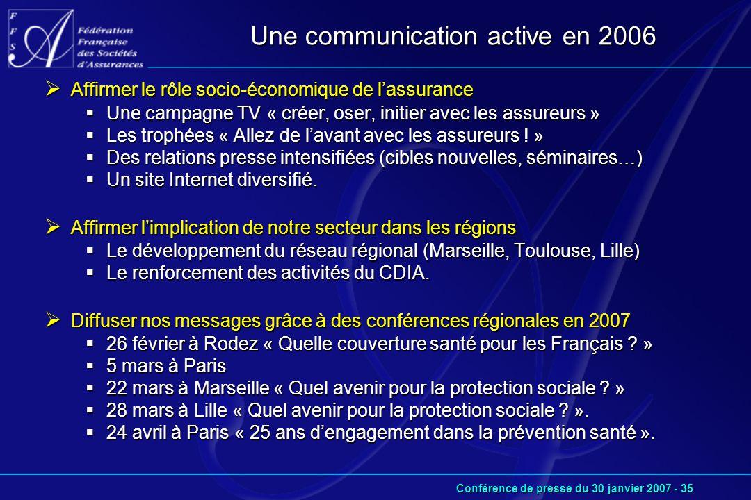 Conférence de presse du 30 janvier 2007 - 35 Une communication active en 2006  Affirmer le rôle socio-économique de l'assurance  Une campagne TV « créer, oser, initier avec les assureurs »  Les trophées « Allez de l'avant avec les assureurs .